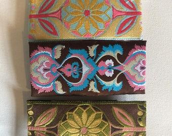 Embroidered ribbon barettes set of 3