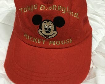 Vintage 80s Mickey Mouse Whool adjustable Cap Tokyo Disneyland