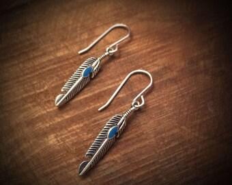 Feather dangle / drop earrings