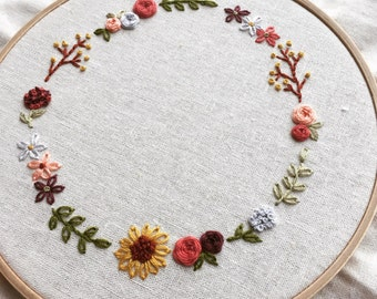 Cute Floral Wreath Hand Embroidery Pattern-PDF Download