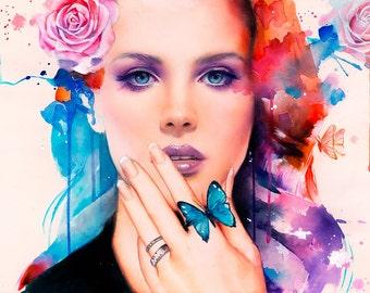 Shades Of Cool (Lana Del Rey inspired) (Watercolor Original)