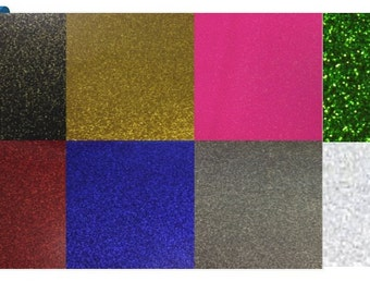 """Glitter Heat Transfer Vinyl -8 Colors Choices- Perfect for Silhouette Cameo, Cricut, (1 Yard) 3 feet x 20""""  FREE SHIPPING"""