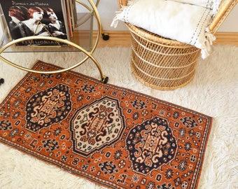 Bohemian vintage Persian carpet Oushak runner burned orange navy cream 120 x 60 cm 4 x 2
