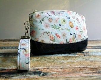 Wallet Clutch Handbag Spring floral Fabric Glitter Vinyl Bottom  Evening Bag Everyday Clutch Wristlet