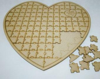 Wedding jigsaw puzzle, alternative guest book, wedding guest book, heart jigsaw puzzle, wedding heart jigsaw puzzle, wedding guestbook