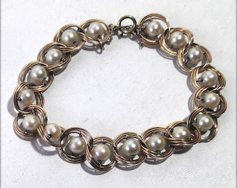 REDUCED 14k Compound Link and Pearl Bracelet