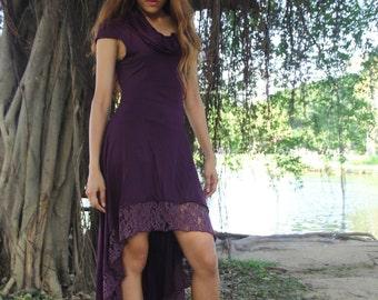 Purple Cowl Neck Headscarf Gypsy Bohemian Boho Hippy Sleeveless Lace Gothic Pixie Elf Corset Dress