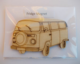 T2  Bay Window Fridge Magnet - Wood etched T2 Bay Window