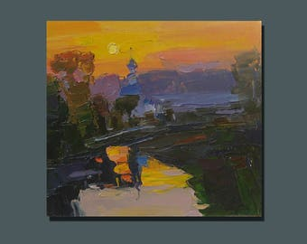 Oil Painting Original Art Russian Landscape Contemporary Art Sunset Painting Anniversary Gift Bright Painting Gift For Him Gift For Her