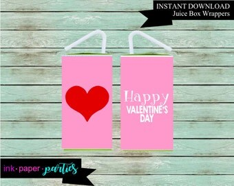 Printable Valentine's Kids Valentine Day Heart Juice Box Wrappers Party Favors Favor Labels Digital File Instant Download