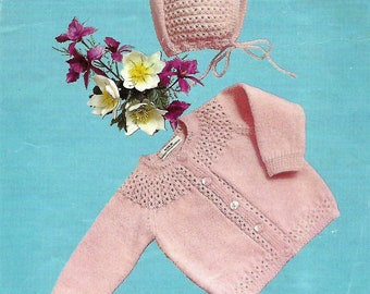 knitting pattern, pdf, baby girl coat and bonnet, size 20 inch, instant download, digital download