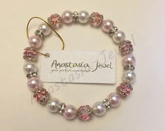 Exquisite Handmade Swarovski Pearl-Crystal Bracelet