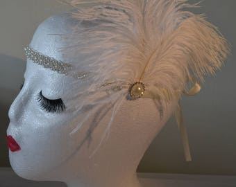 1920's Ivory & Pearl Vintage Style Headband Flapper, Great Gatsby Charleston Weddings, Proms, Parties, 1920s/1930s Themed Occasions,