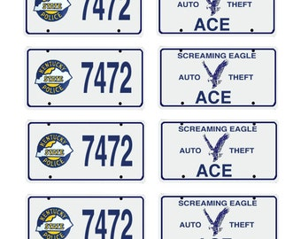 scale model Kentucky State Police car license tag plates