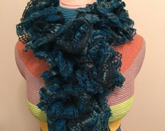 Hand Knitted Blue Warm, Frilly, Ruffled Scarf - Great for the Winter as a Fashionable Accessory