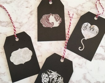 Gift Tags - Set of 4, Black Damask