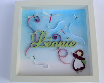Table theme dragonflies birth or personalized baptism gift. girl, sky, first name. embossed. Deco kid's room. paper cut