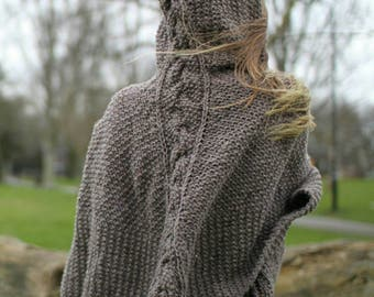 Brown Hooded Shawl, Knitted Shawl Detailed with Cable Knit