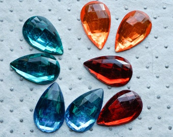 25mm x 16mm ACRYLIC GEMS (20 count) Tear Drop Faceted Flatback Decoden Rhinestones