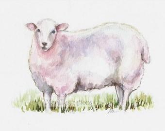 Lamb Sheep Nursery Farm Animal Wall Art Small ORIGINAL Watercolor Painting Illustration Hand Painted Small Wall Decor 5x7