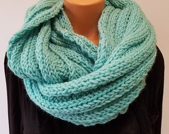 Light Teal Hand Knit Infinity Scarf