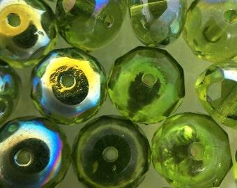 Loose Czech beads, Czech beads, 8 1/2 mm Rondelle beads, Green gemstones, wholesale #0738
