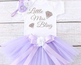 Little Miss Bling. Baby Tutu Outfit. Girl's Outfit. Girl's Tutu Outfit. Girls Tutu Set. Girl's Clothing. T12 GRL (LAV)