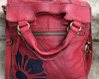 Lucky brand abbey road red leather crossbody bag/ Italian lamb leather