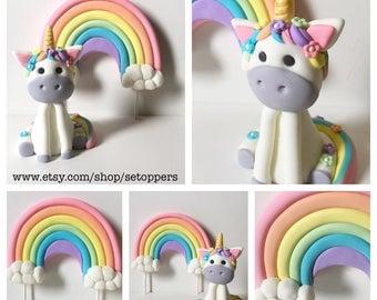 Unicorn unicorn cake topper girly pink and purple cake