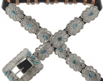 Navajo Concho Belt Hammered Silver Turquoise Skinny Jeans