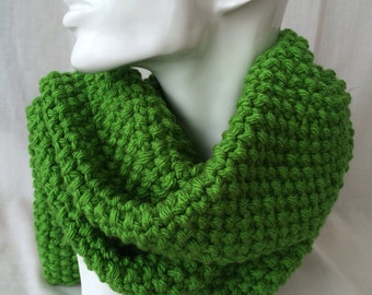 Grass Green Winter Hand Knitted Scarf