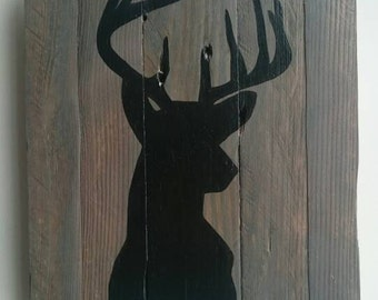 Recycled wooden pallet sign Stag Silhouette