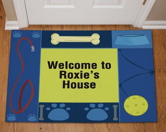 Personalized Doggy's House Pet Doormat Custom Name Gift