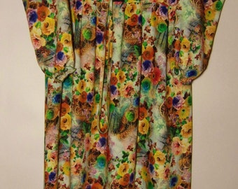 Vintage Womens Summer Maxi Long Dress Colorful Dress Ruffle Bottom Long Sleeve Cotton Dress Size M Made in Chechenia