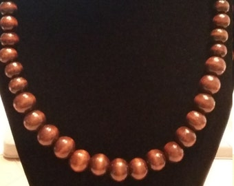 Brown Wood Beaded Necklace