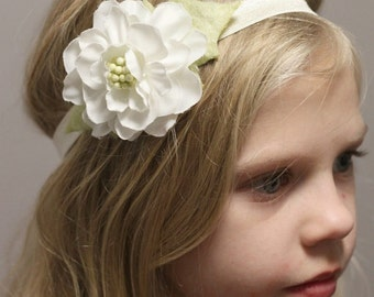 White And Cream Elastic Floral Headband, Girls Hair Accessories
