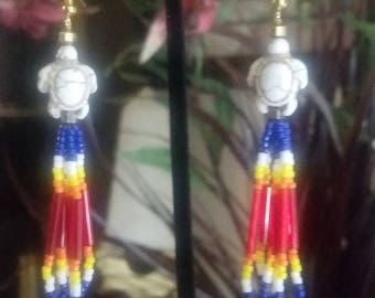 Native Style Loop Beaded Earring with White Turtle and Flame Effect Beads