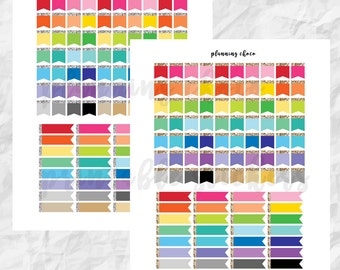 Colorful Flag  / colorful basic functional  printable planner stickers, pdf, jpg