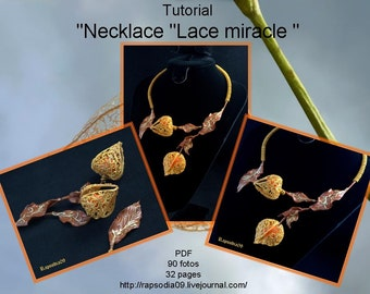 "Polymer clay tutorial ""Necklace ""Lace miracle "" PDF Tutorial digital PDF format Create physalis necklace"