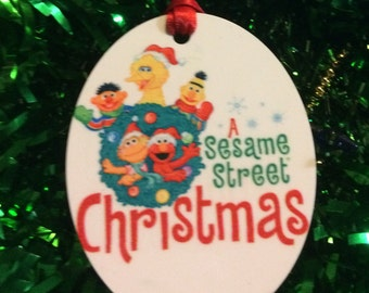 Sesame Street Christmas Inspired Christmas Tree Ornament 2 Sided Can be Personalized NEW