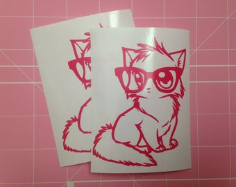 Nerdy Kitty vinyl decal, Nerdy Anime Cat decal, kitten sticker, nerd kitten laptop decal, nerd kitty car decal, gifts under 5, cute kitty