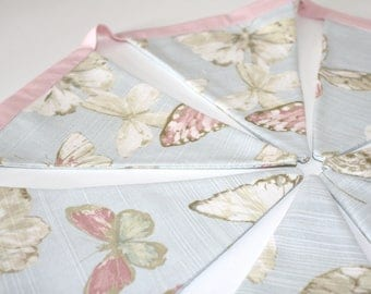 Bunting • lovely vintage style double-sided bunting in a pretty cream, pink and blue butterfly design • 7 large flags (19cm drop)