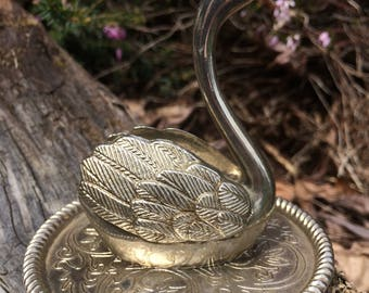 Vintage swan jewelry ring bracelet holder silver tone swan