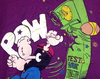 Rare!! Vintage Popeye the sailor man L size purple colour
