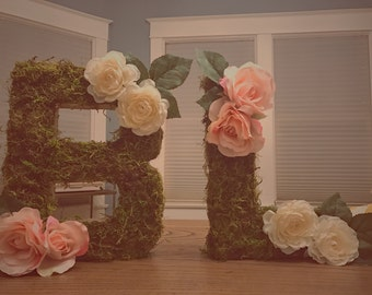 custom floral + moss letter for wedding or nursery