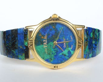 Natural Real Azurite Larger Stone Watch Band Face Mens Womens