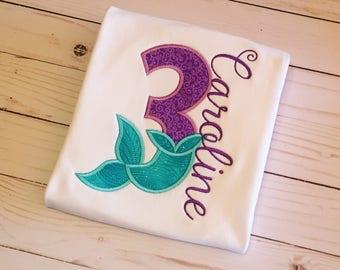 Mermaid birthday shirt, mermaid number birthday shirt