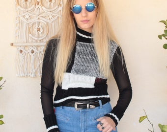 Vintage 90's Polo Neck Cropped Jumper