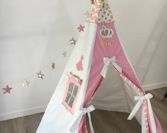 Tipi Princess pink and white