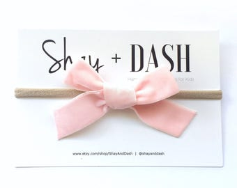 Soft Pink Velvet Bow - headband OR clip